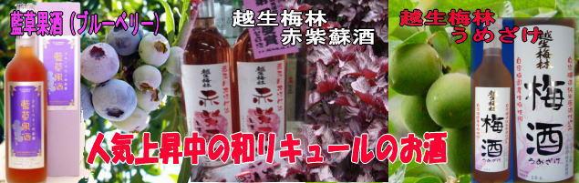100%国産ブルーベリー使用、体に優しい藍草果酒、赤紫蘇は古くから日本に自生する「和風ハーブ」で、花粉症などの症状を緩和し貧血予防、ダイエット等に効果があるといわれています。 純米原酒で仕込んだ完全自家製本格日本酒仕込みの梅酒です。